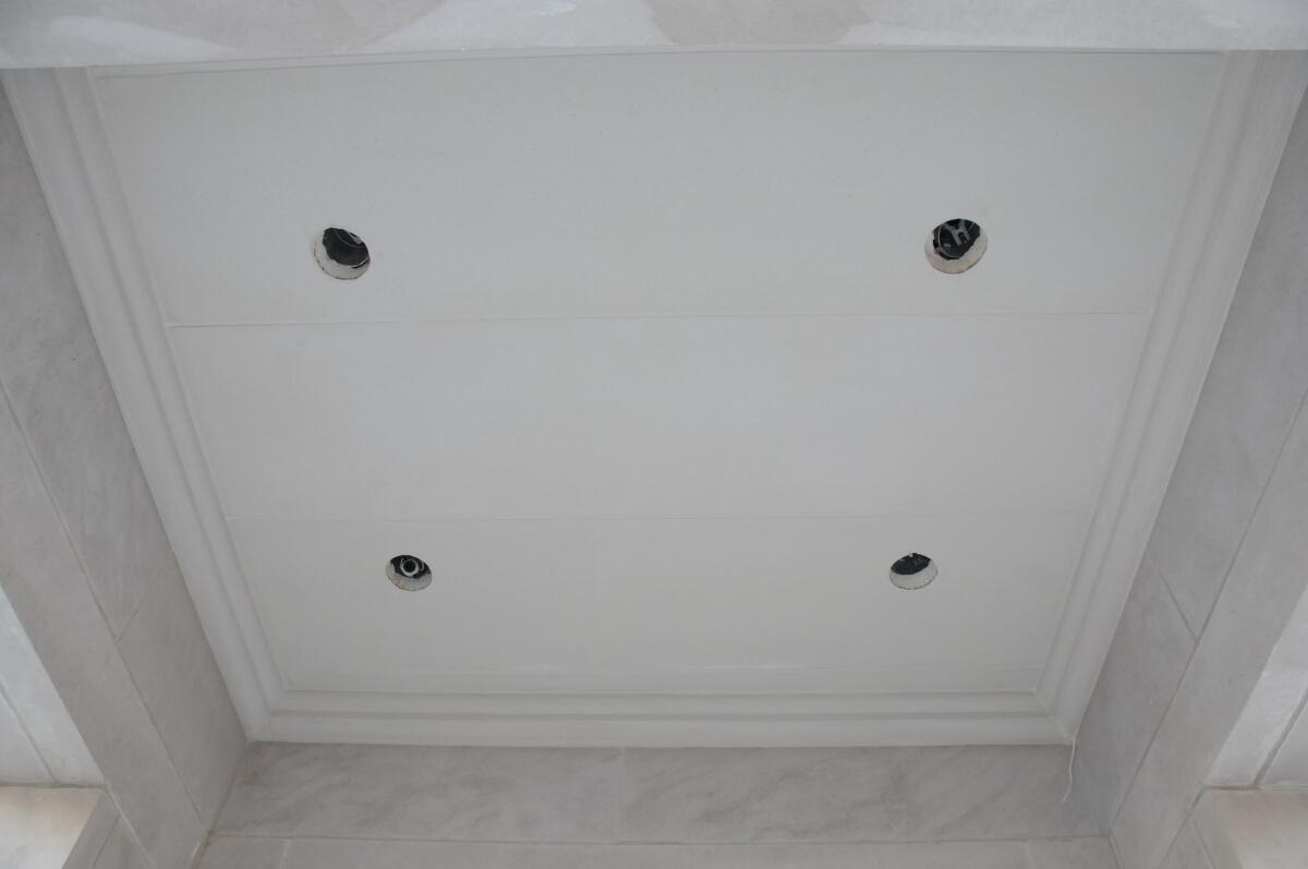 Interior Lightweight limestone - exterior pot light installation ...