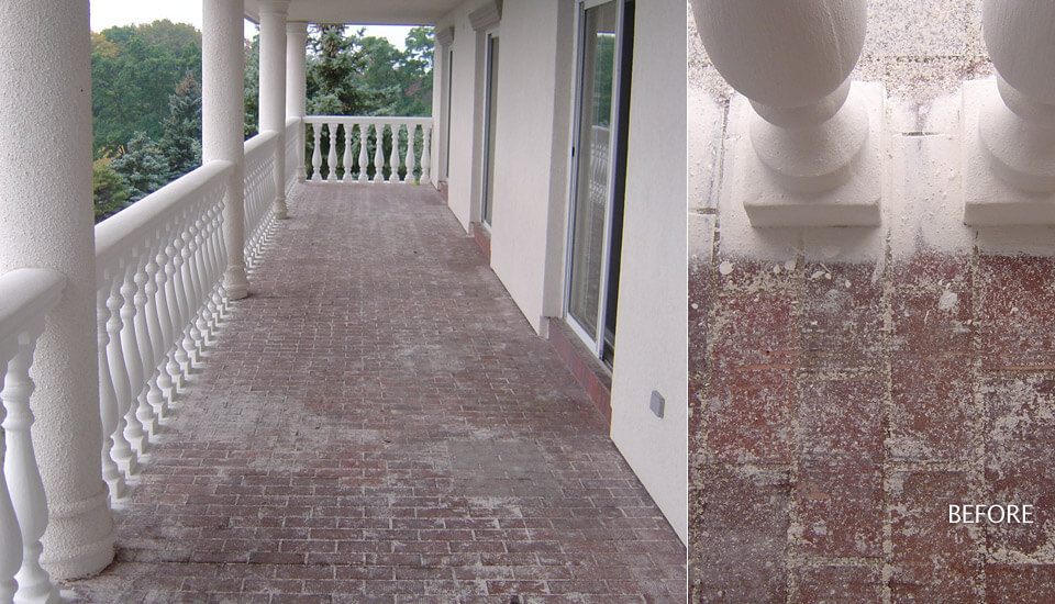 Damaged concrete porch