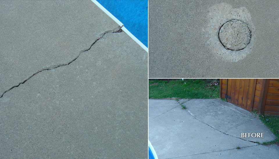 Broken concrete swimming pool deck repair building for Broken swimming pool