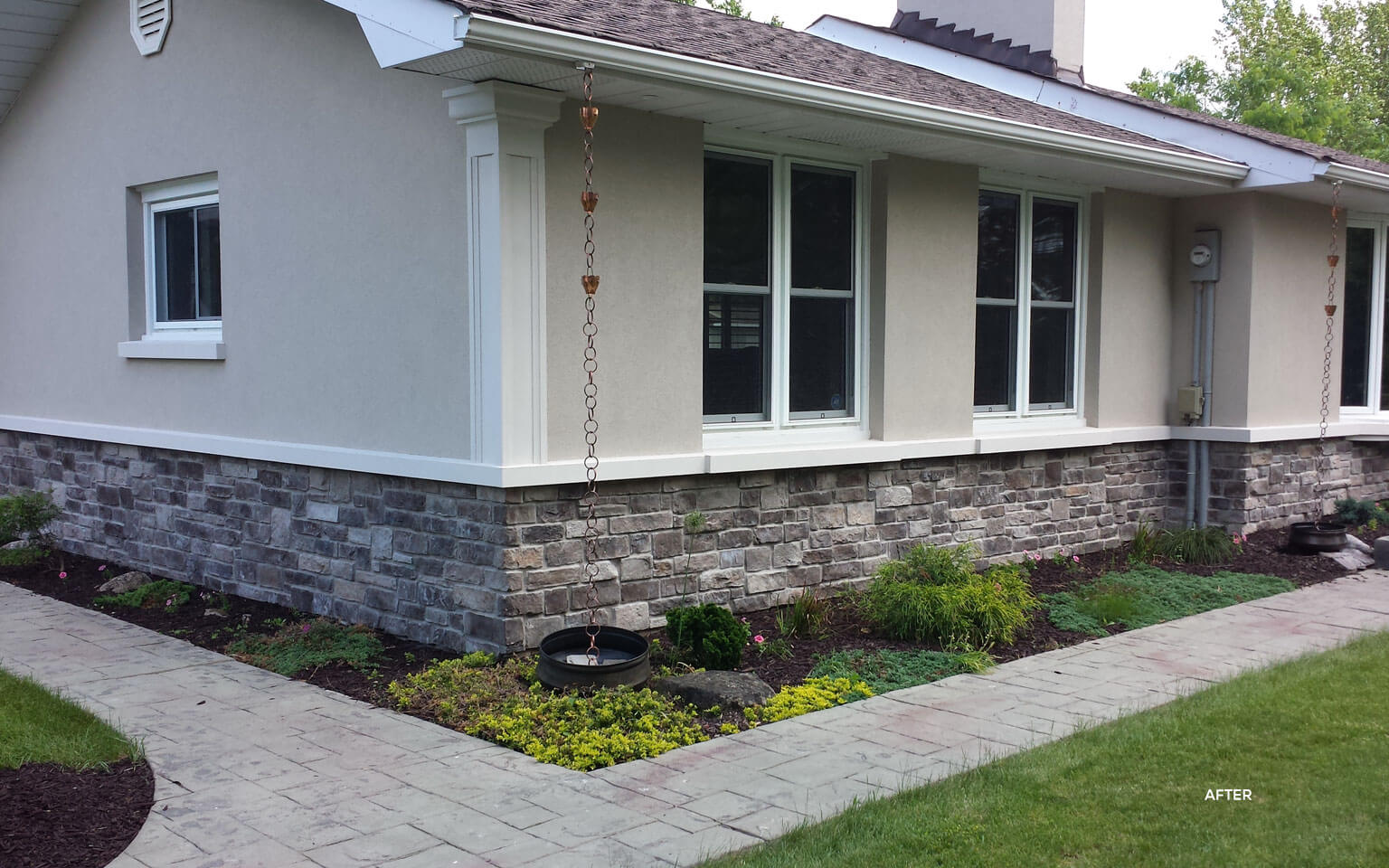 Exterior Stone And Stucco Finish After Example