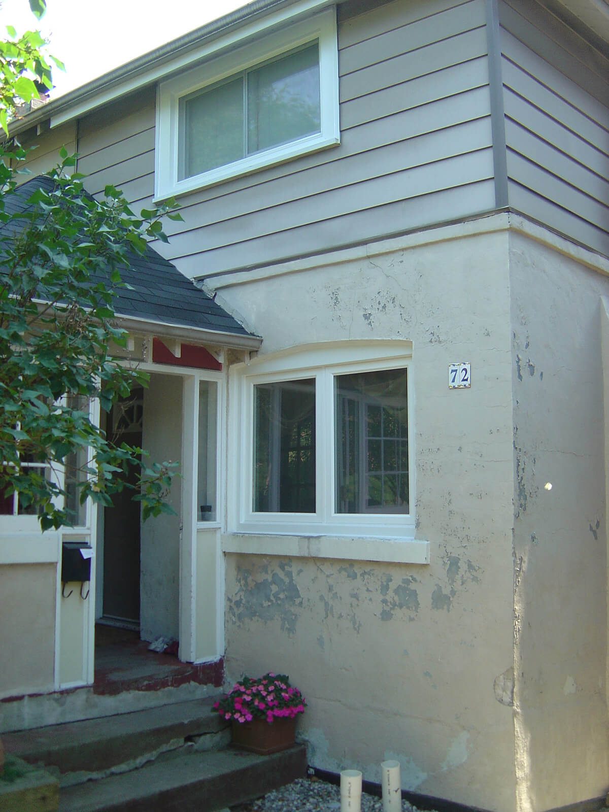 Exterior house stucco repair restoration contractor before and after building blocks How to plaster a house exterior