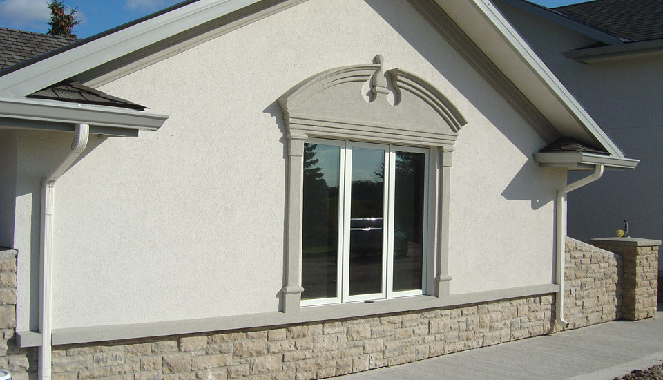 Stucco and Stone Garage