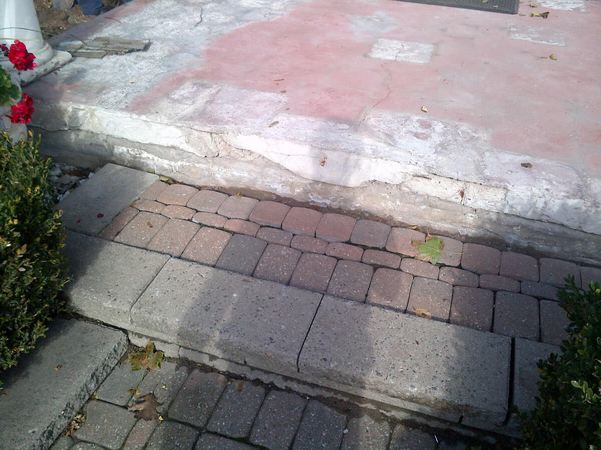 Exterior Concrete Repair and Resurface - Broken and Damaged Front Steps