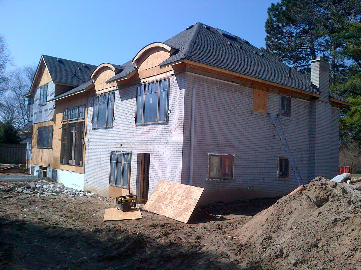 Before Exterior Stucco and Stone Application