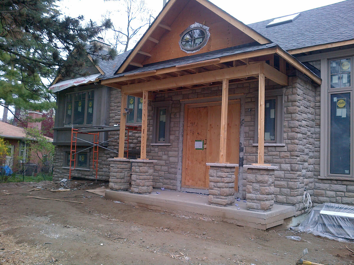 House Exterior Front Entrance - Natural Stone Veneer