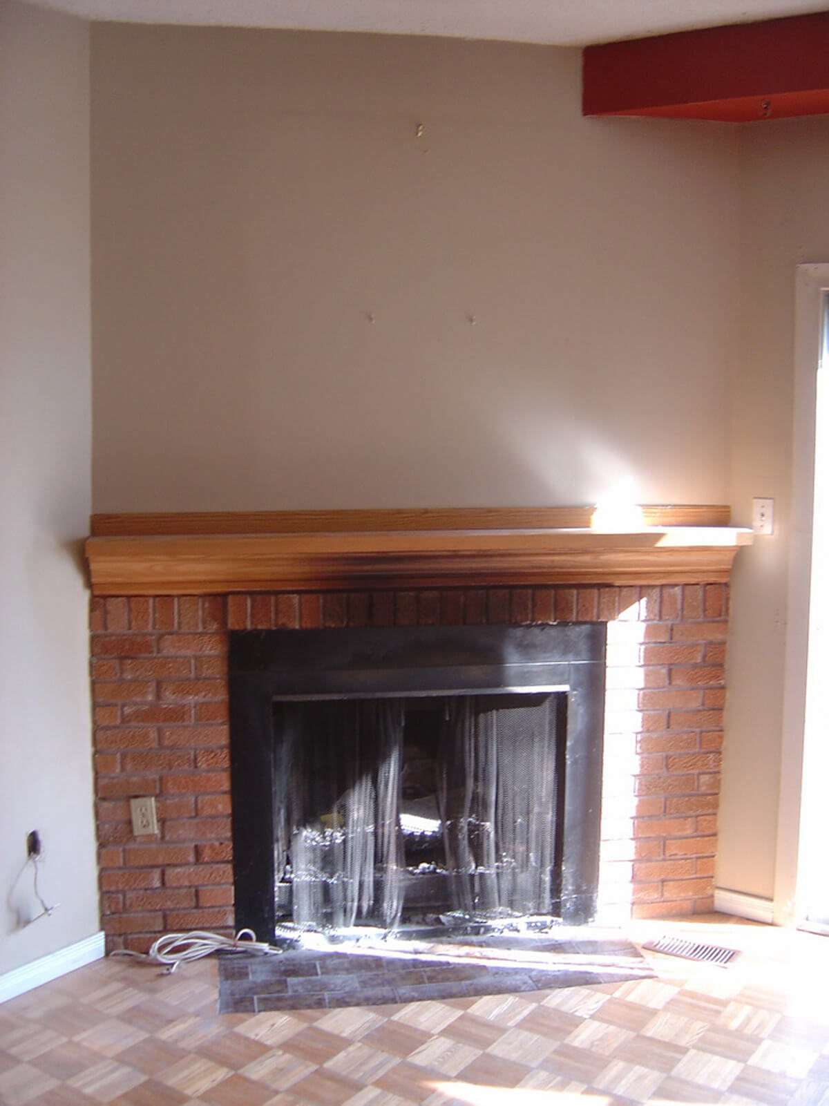 Before Interior Stone Veneer Fireplace