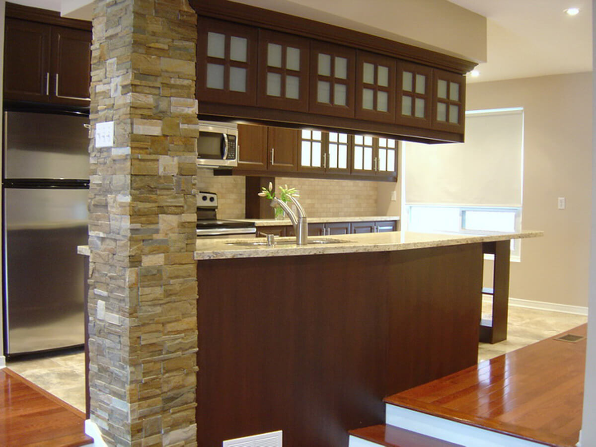 Interior Stone Veneer Kitchen