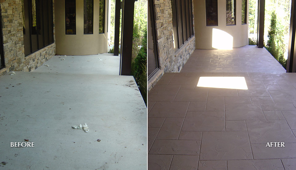 Before and After Decorative Concrete Overlay