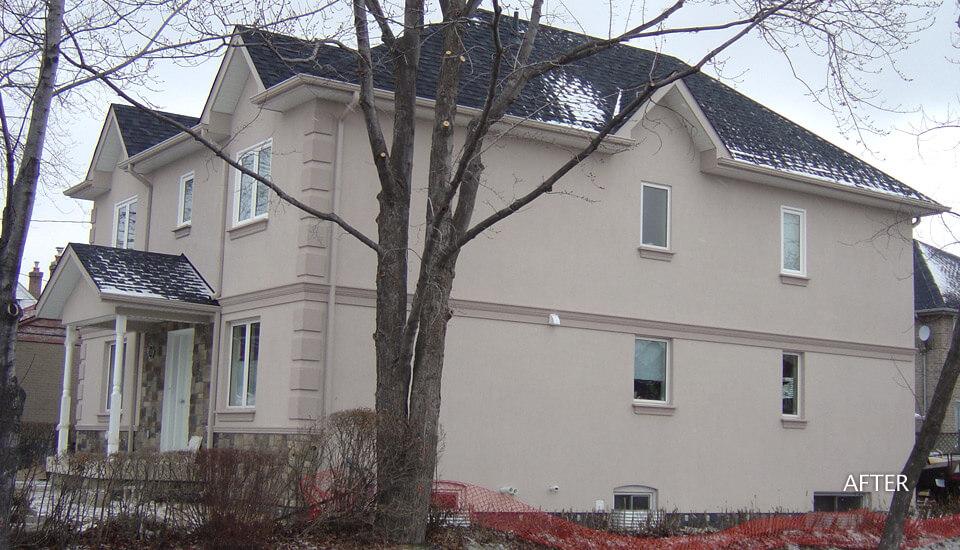 Stucco on side of house
