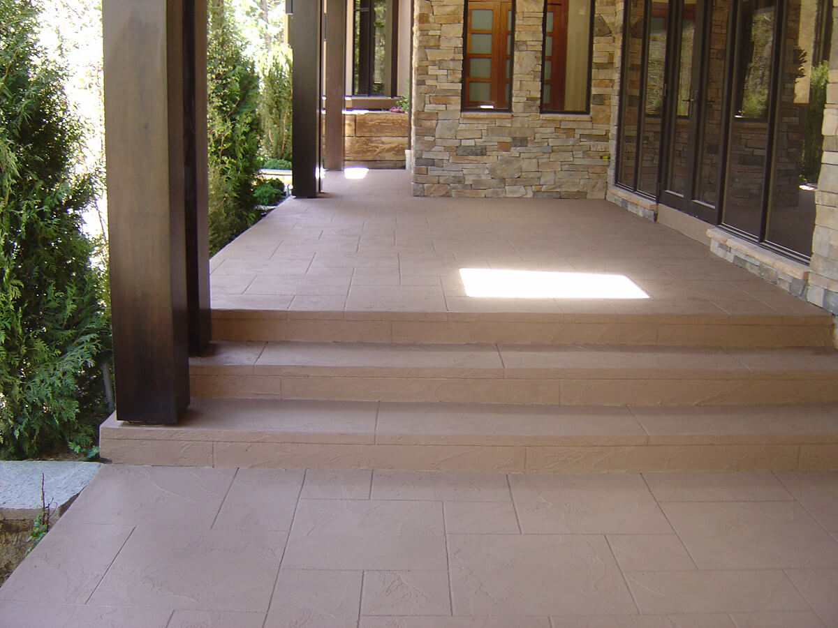 Decorative Cement Overlay on Concrete Steps