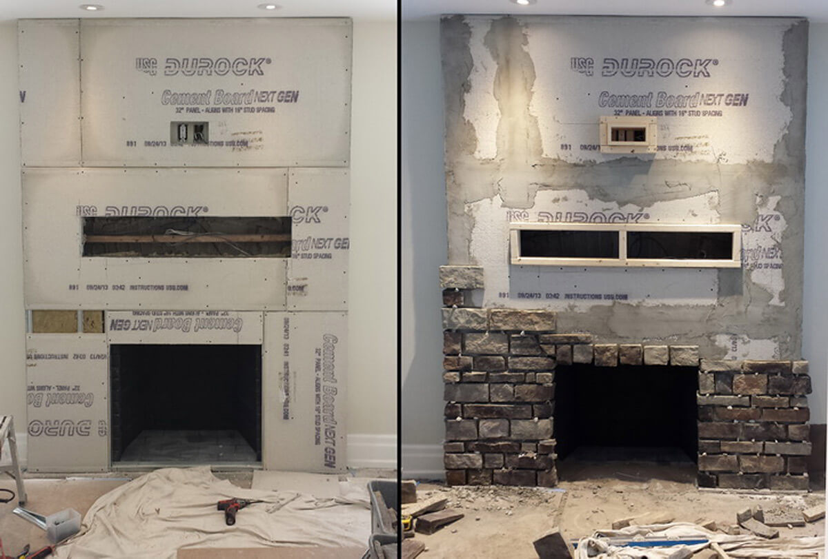 pics photos stone veneer fireplace installation over brick