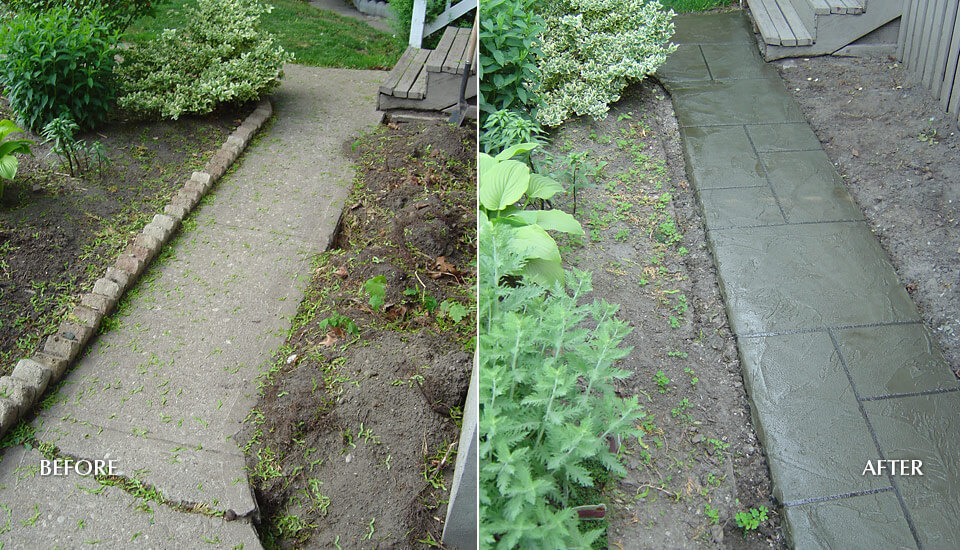 Broken Concrete Walkway - Before After Repair