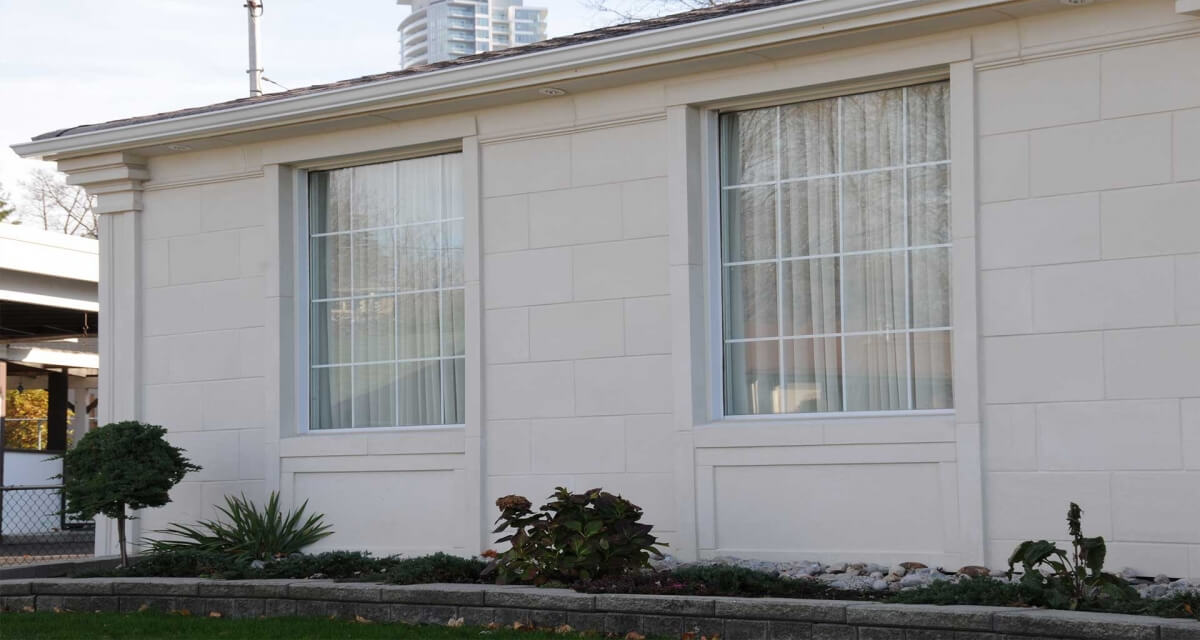 Lightweight exterior limestone window surround