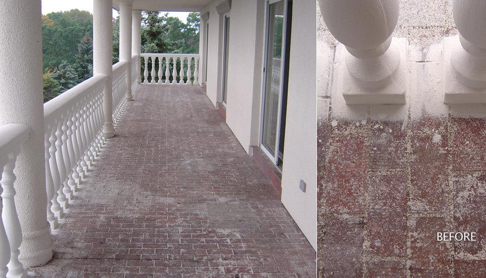 Damaged concrete porch