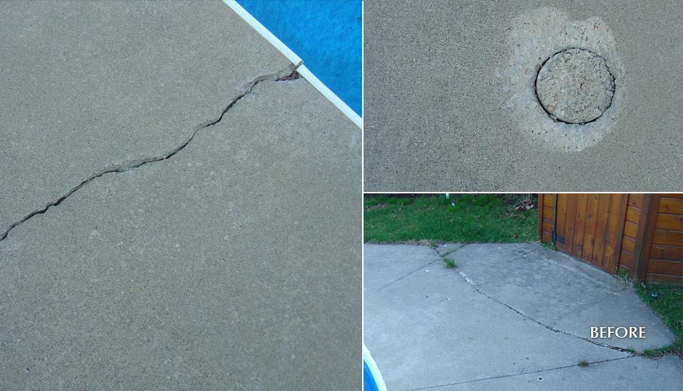 Broken Concrete - Swimming Pool Deck - Repair