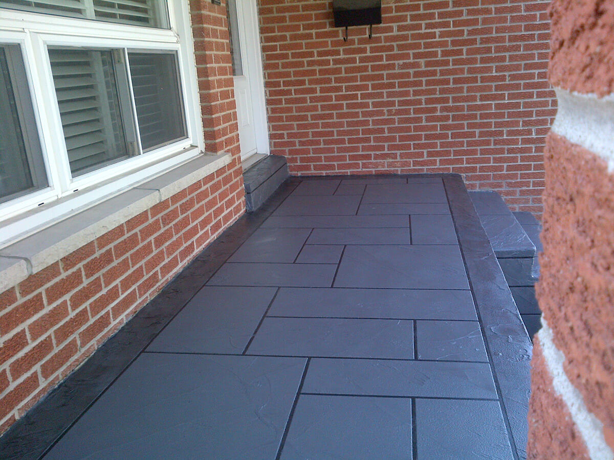 Coloured Concrete Front Porch Restoration Etobicoke