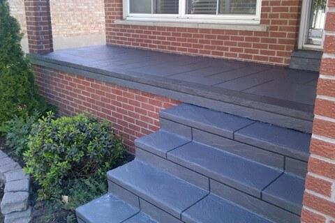 Coloured Concrete – Front Porch Restoration – Etobicoke, Ontario