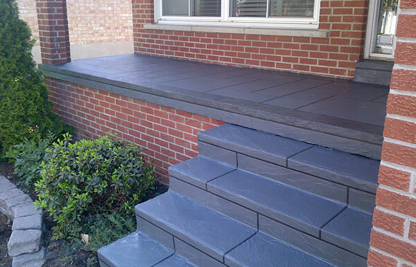 Stamped Concrete Steps Porch Walkway Resurface