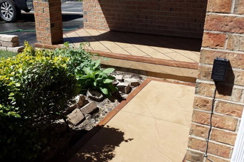 Clarence St, Brampton – Front porch and walkway decorative cement overlay