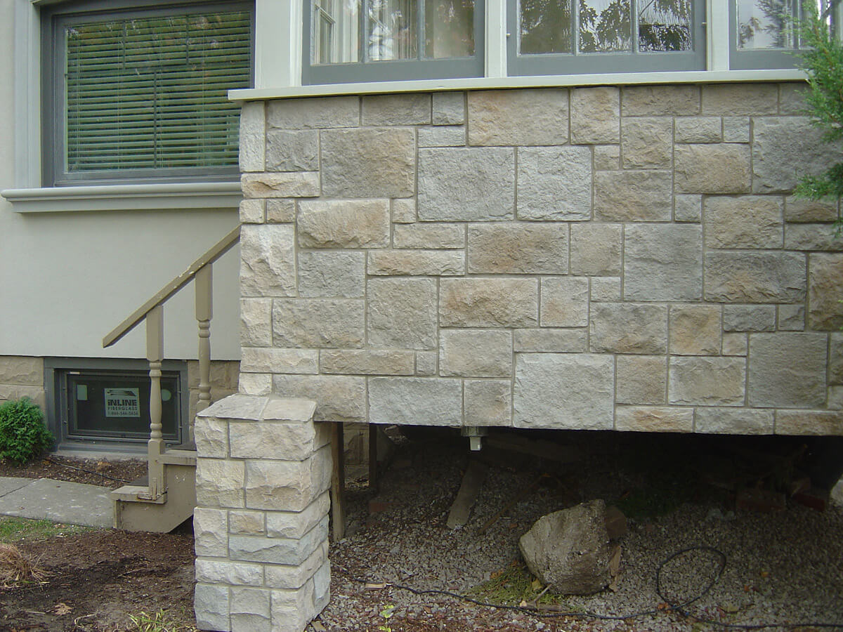 Exterior Porch Stone and Stucco Finish