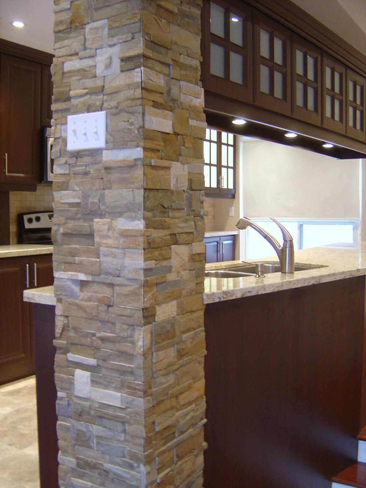 Interior Stone Veneer >> Interior Stone Veneer - Townhouse, Mississauga - Building Blocks Construction