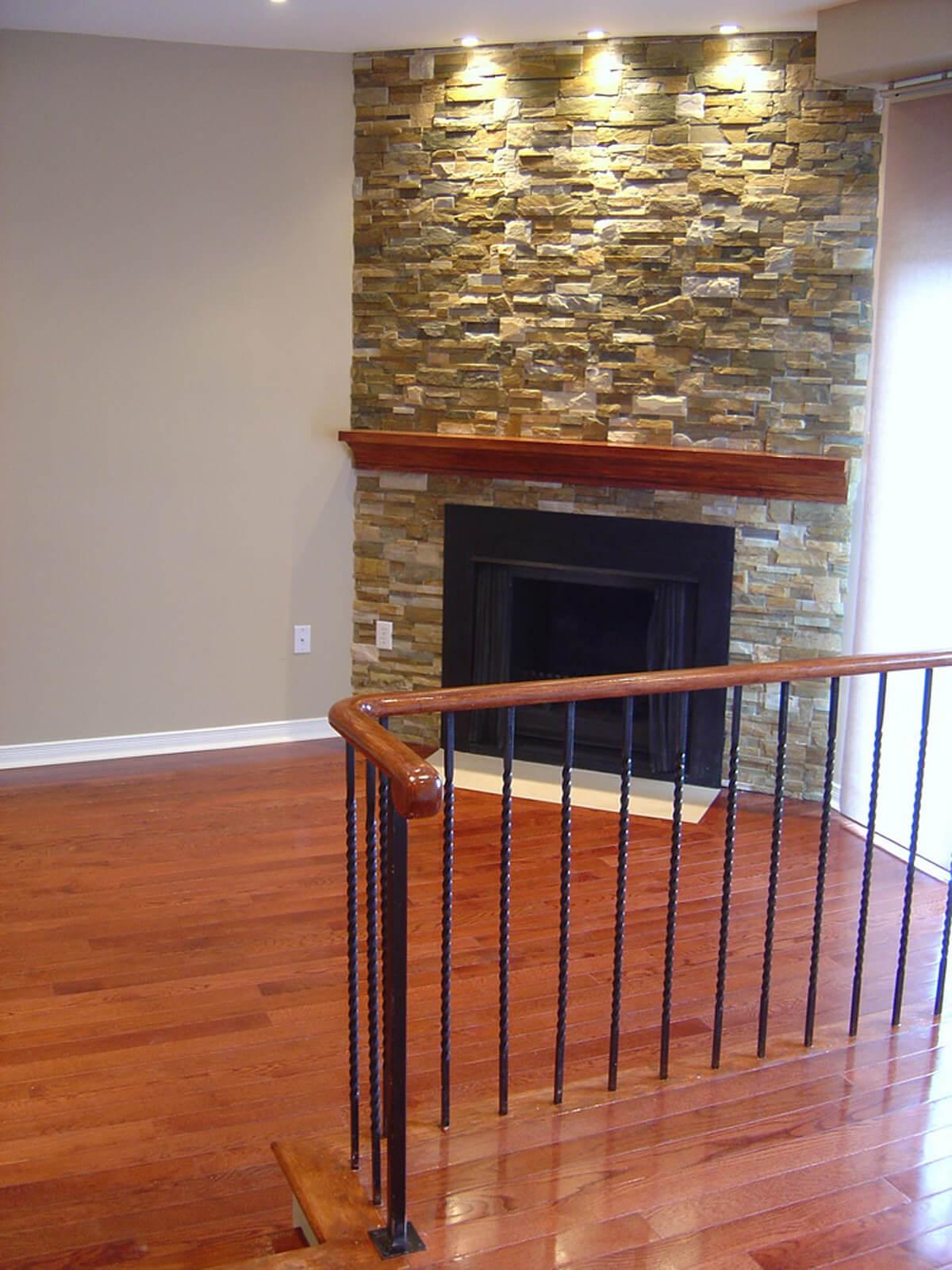 Interior Natural Stone Veneer Fireplace
