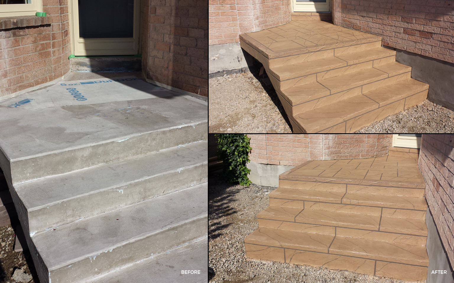 Concrete Steps Repair And Decoration With Jewel Stone