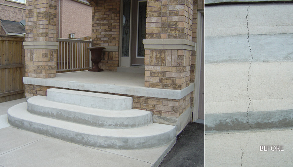 Concrete Steps broken crack repair