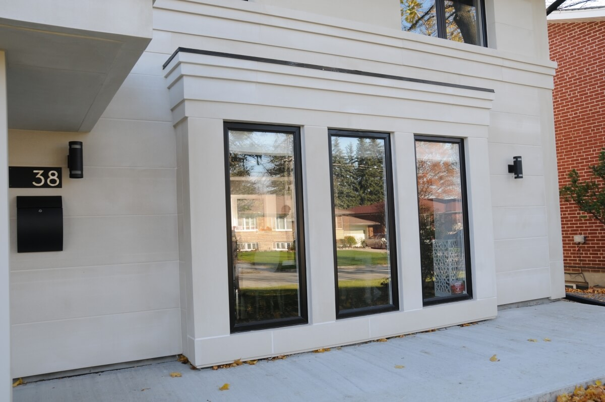 Lightweight exterior stone veneer cladding - window surround