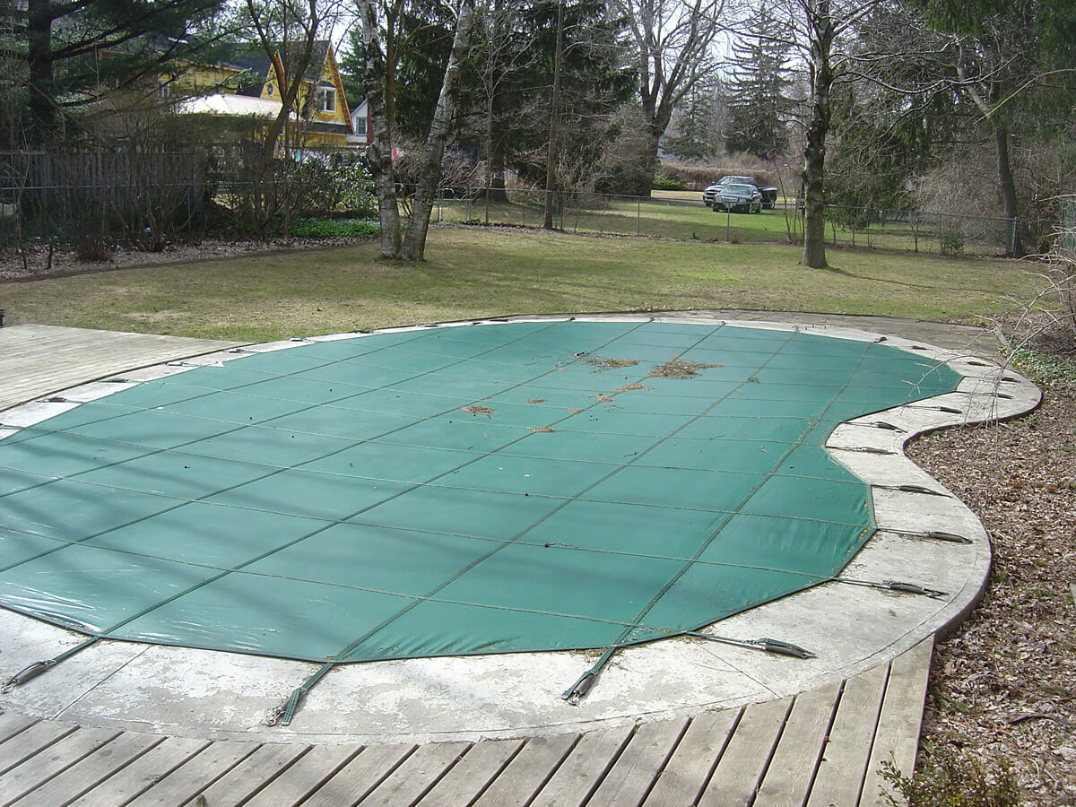 Outdoor swimming deck damaged by weather - Deck restoration and repair