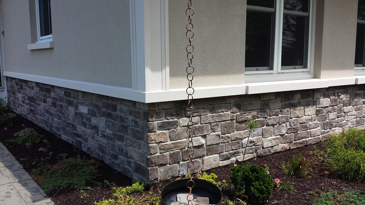 Residential exterior building - Stone with Stucco Finish