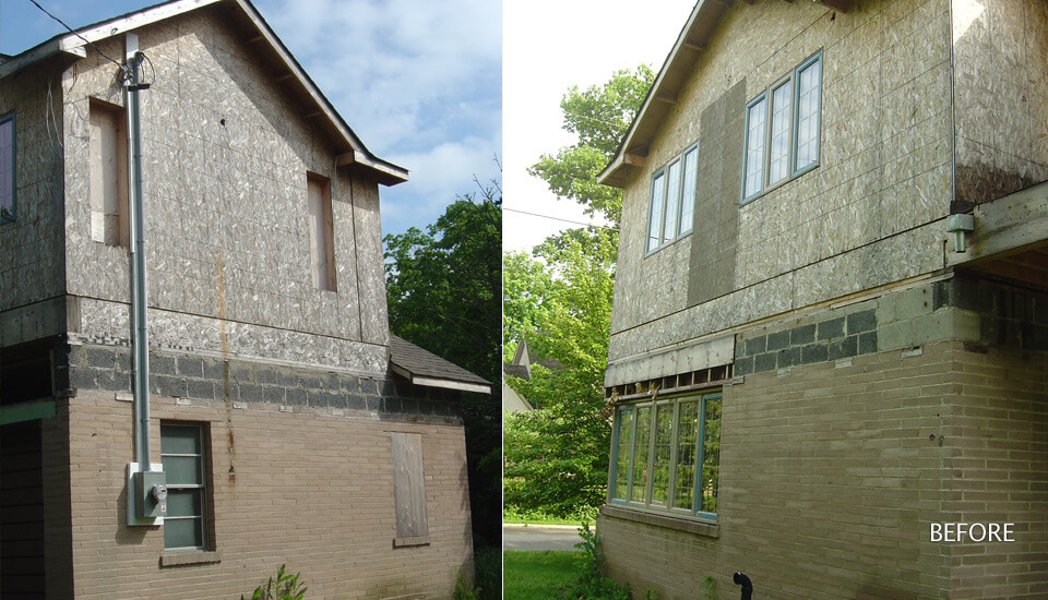 Before After Stone Veneer - Faux Stone