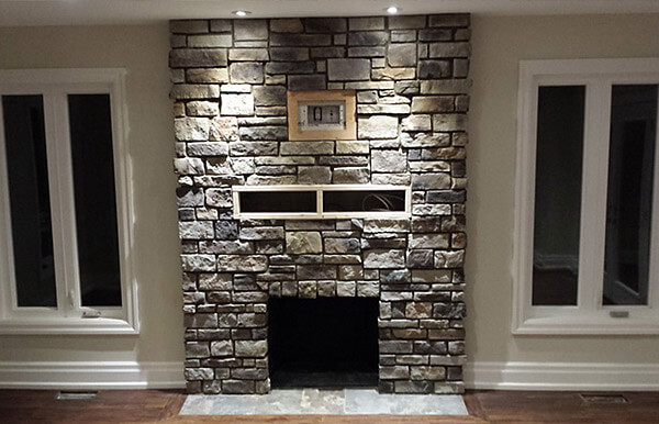 Fireplace finished with Stone Veneer