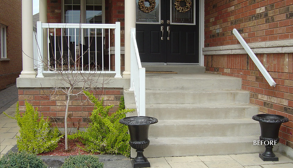 Unfinished Concrete Steps - Before Decorative Concrete Overlay